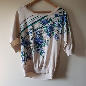 WHITE HOUSE BLACK MARKET Floral Silky Pullover XS